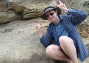 """Evan """"clearly"""" convinced that he has found some dinosaur footprints."""