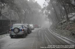 Snowfalls in Mount Baw Baw on Monday night.