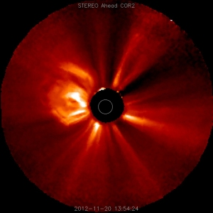 Large coronal mass ejection observed by the STEREO probe on November 20, 2012.