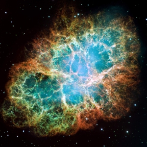 The Crab Nebula, a remnant of a supernova that was observed about one thousand years ago.