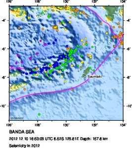 Historic seismicity in the Banda Sea region - a magnitude 7.1 earthquake there last week could be felt in northern Australia.