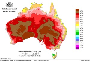 Highest daily maximum temperature during the first two weeks of January. Australian Bureau of Meteorology