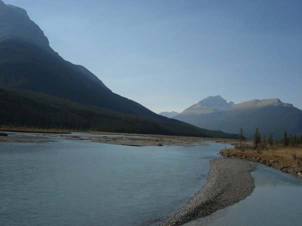 A braided stream in the Icefields Parkway in Alberta. These are broad, sinuating rivers that are constantly evolving.
