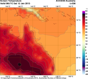 Forecast temperatures for Queensland today.