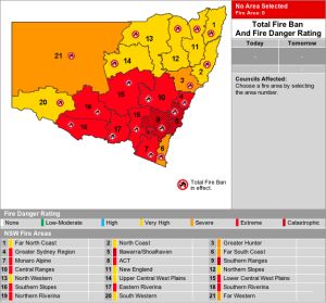 Fire Danger for NSW for the 8th Jan.