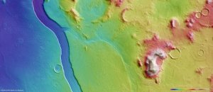 Topographical relief of the stream-like feature on Mars.