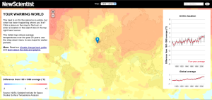 "Screen shot from the ""Your Warming World"" tool by New Scientist"