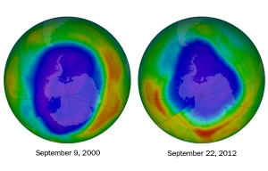 On September 22 (right), the hole in the ozone layer (blue and purple) above Antarctica reached its smallest maximum size in two decades, covering 21.2 million square kilometers. The largest ozone hole on record occurred on September 9, 2000 (left), measuring 29.9 million square kilometers. Credit: GSFC/NASA