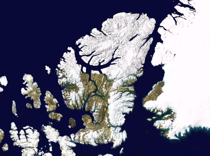 Ellesmere Island. The northwestern part of Greenland is to the east.