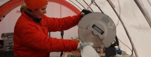 Nerilie cutting up an ice core from James Ross Island, 2008.