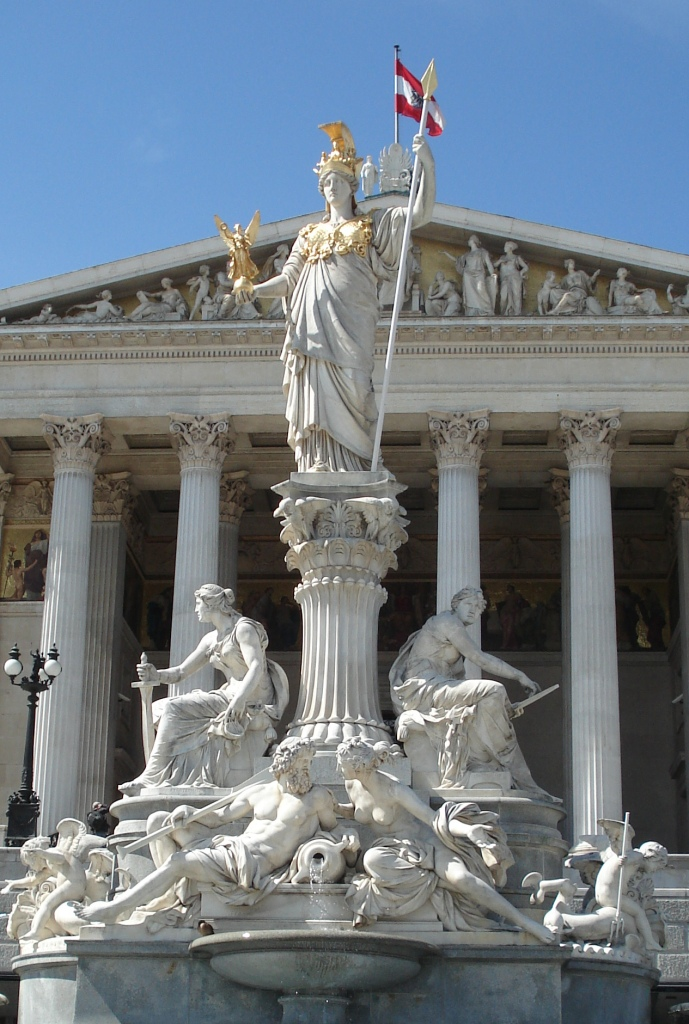 Athena, goddess of Wisdom in front of the parliament buildings in Vienna.