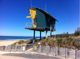 Image: Life Saving platform built well above sea level at Lakes Entrance, Victoria (2013) - photo Barbara Norman