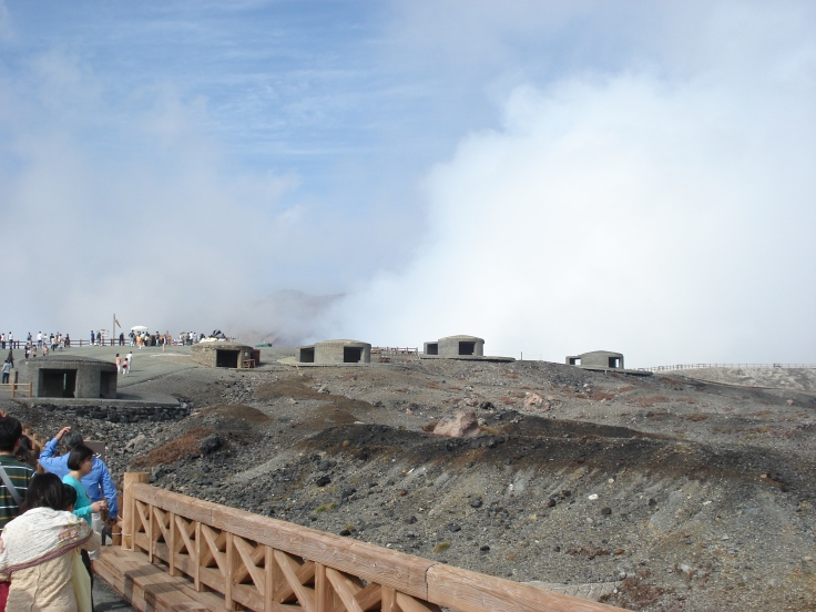 """Bomb"" shelters were erected at the tourist site to protect people in case the volcano erupts."