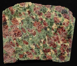 eclogite: i told you it looked good. red stuff:garnet. green stuff: pyroxene. www.thinktank.ac