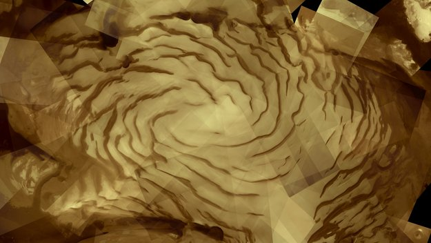 A mosaic of 57 images taken from 300-500km height by Mars Express. Image Credit: ESA