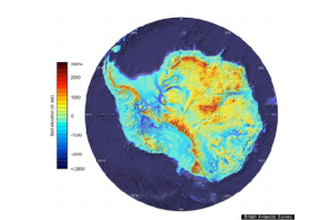 Bedrock map of Antarctica obtained by the BEDMAP2 project of the British Antarctic Survey