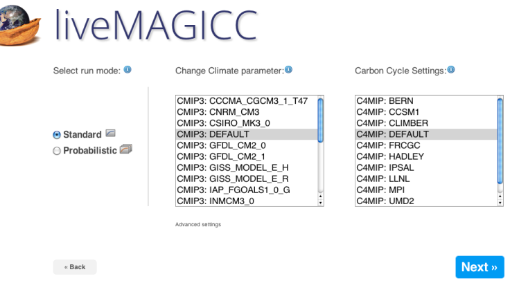 Step 2: Select standard or probabilistic run Step 3: Choose your Change Climate Parameter (to run the model to mirror a particular climate model) Step 4: Choose your Carbon Cycle Settings (again, to mimic a particular climate model)