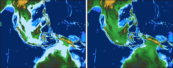 Comparison of current topography and topography during the LGM north of Australia.