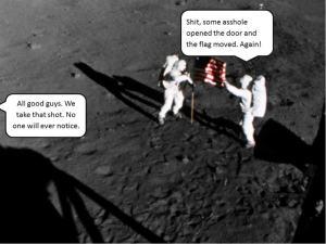 "Figure 1: The good old ""But the flag moved so there must be atmosphere"" argument."
