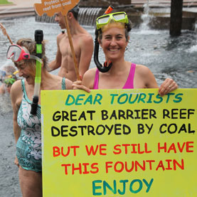 Sydneysiders went snorkelling in Hyde Park fountain earlier this year in protest of the planned expansion of coal ports on the Great Barrier Reef.