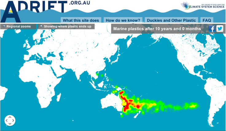 Screen shot from adrift.org.au. Pick a spot in the ocean, and see where your plastic bottle might end up. This example releases the tracer from Sydney.