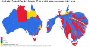Depiction of Australian Federal Election results for 2010, scaled by spatial area and population of electorate. http://www.theguardian.com/world/datablog/interactive/2013/sep/06/australian-election-sized-by-population