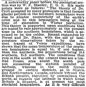 Early news story on climate. From the August 30, 1884 edition of the New York Times.