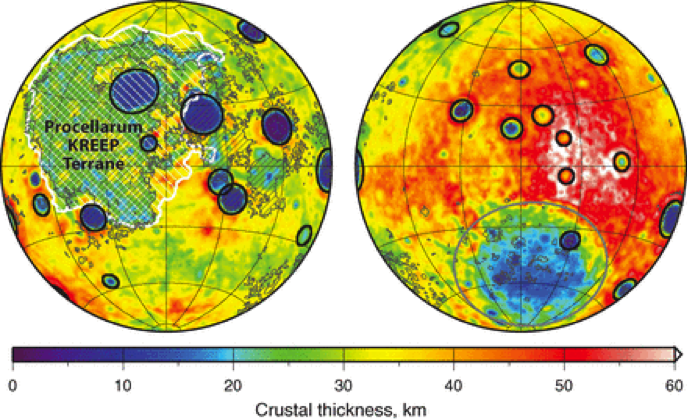 Fig. 1: Global map of crustal thickness on the Moon derived from GRAIL gravity data. Even without measuring you can clearly see that nearside basins are (in average) much bigger than the farside basins. Figure from [1].