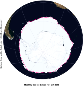 Sea ice extent around Antarctica for October 2013.