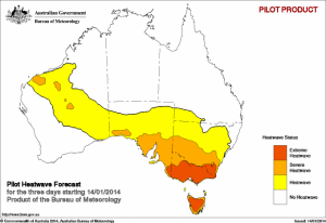 Pilot heatwave forecast, beginning the 14th January 2014. Courtesy of BOM.