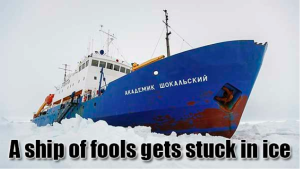 Akademik Shokalskiy stuck after weather conditions changed and sea ice closed down behind the vessel.