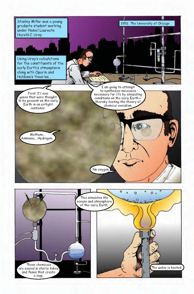 "Stanley Miller performs his famous experiment. From ""Astrobiology: The story of our search for life in the Universe."" Credit: NASA /artwork by Aaron Gronstal."