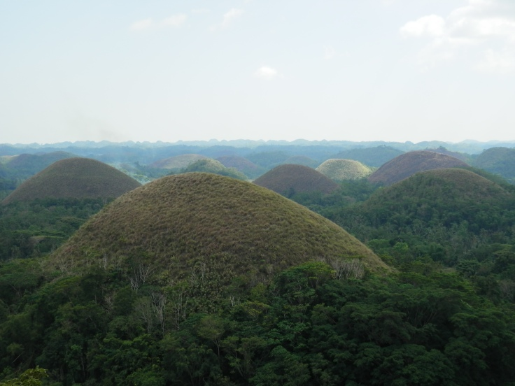 Muriel Naguit - Chocolate hills, Bohol. Weathered formations of marine limestone located on top of clay layer