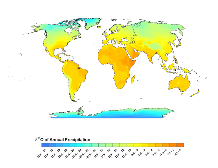 Global values of oxygen isotopes (δ18O) in precipitation (Figure from waterisotopes.org, Bowen 2015)