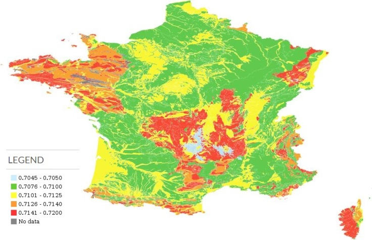 Map fo France showing strontium (87Sr/86Sr) values (IRHUM database, Willmes 2015)