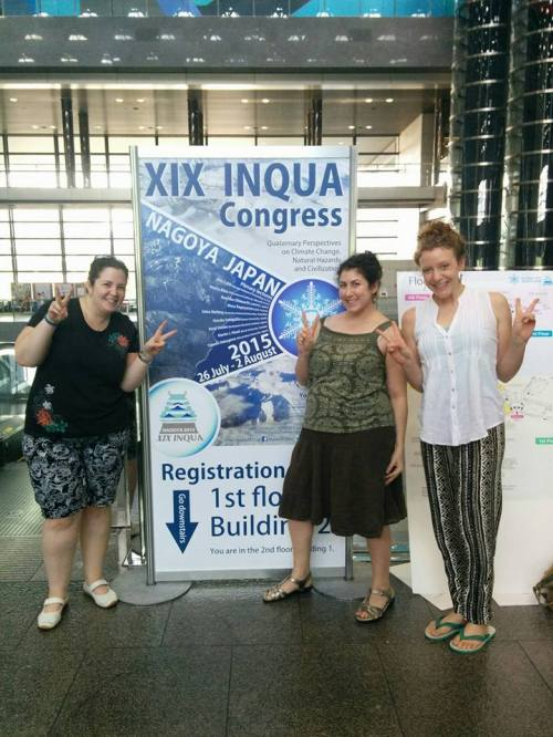 Claire Krause, Jen Wurtzel, and Ali Kimbrough bid farewell to Nagoya and the XIX INQUA Congress. Photo by Kelsie Long.