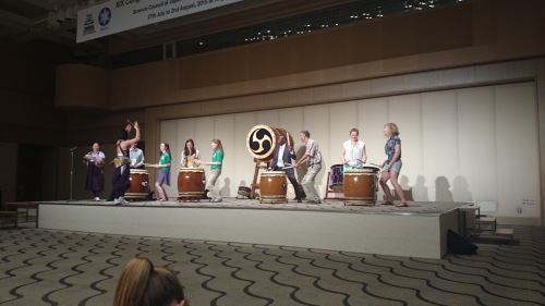 Taiko drumming at the Welcome Function. Photo by Len Martin.