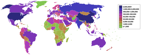 Countries by carbon dioxide emissions in thousands of tonnes per annum, via the burning of fossil fuels.