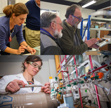 top left clockwise: Ulrike Troitzch, x-ray diffraction lab, RSES; John Vickers and Shane paxton, sample preparation of ceramic petrographic thin sections and QEMSCAN billets, RSES; Rachel Wood, radicoarbon lab, RSES.
